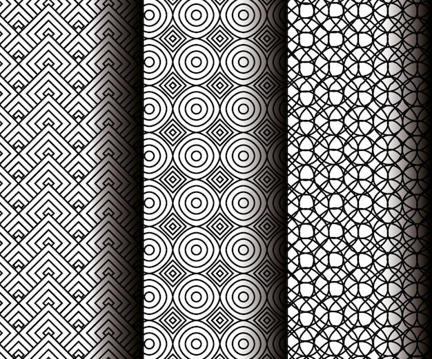 灰色のシームレスパターンで幾何学図形を設定する 無料ベクター
