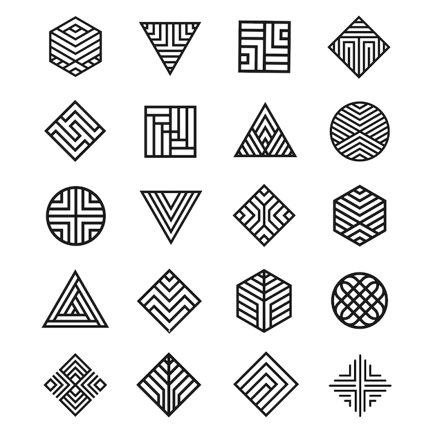 Set of geometry shape icon Premium Vector