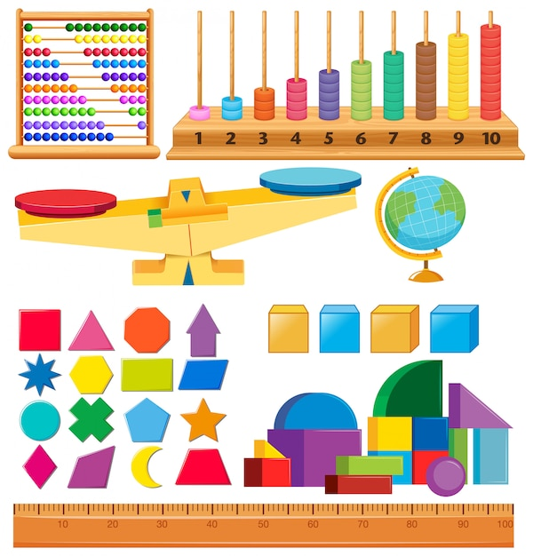 Set of geometry shapes and other school items Free Vector