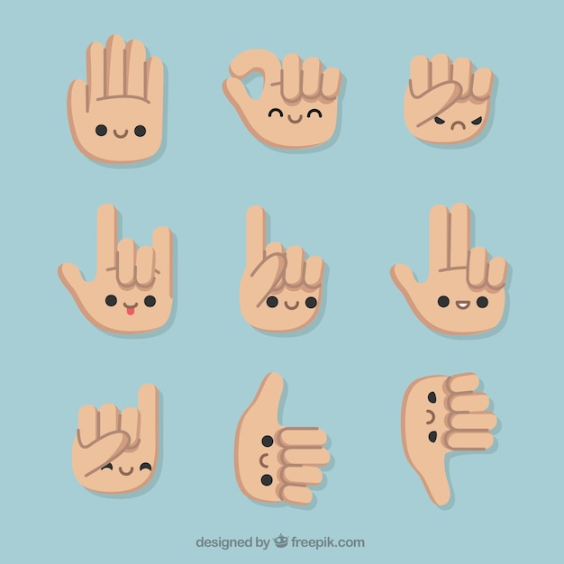 Set of gestures with nice hands Free Vector