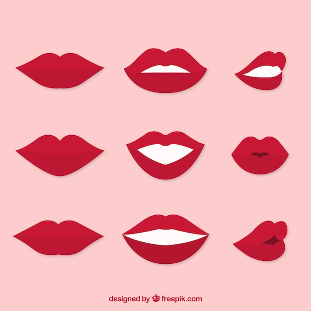 Set of gesturing mouths Free Vector