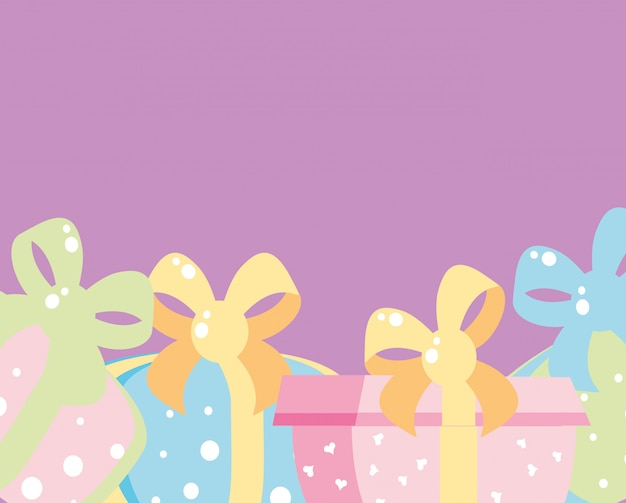 Set of gift boxes presents isolated icon Premium Vector