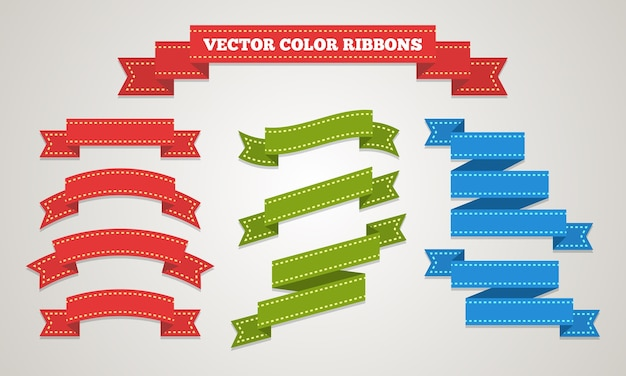 Set of gift ribbons decor in vintage style. Free Vector