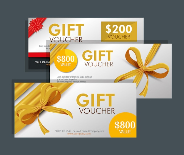 Set of gift voucher card with special discount Free Vector