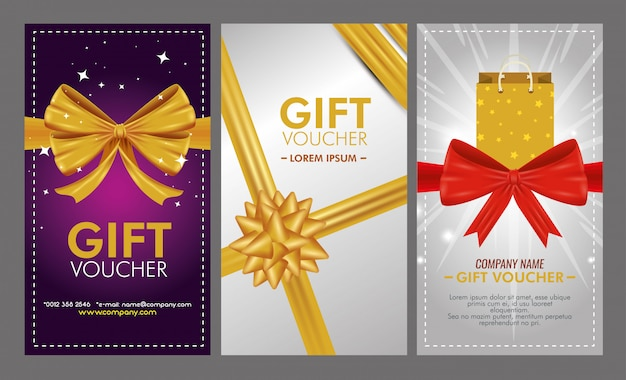 Set of gift voucher with special sale Free Vector