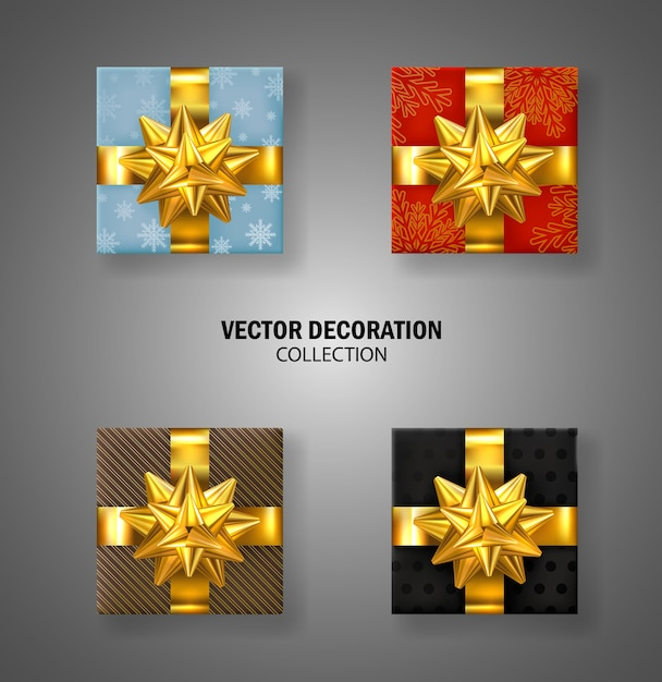 Set of gifts box with gold bow. christmas gift box. lots of presents. luxury present Premium Vector