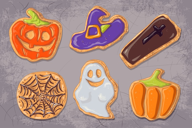 A set of gingerbread cookies on the theme of halloween. Premium Vector
