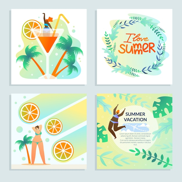 Set girl and citrus i love summer, best vacation. Premium Vector
