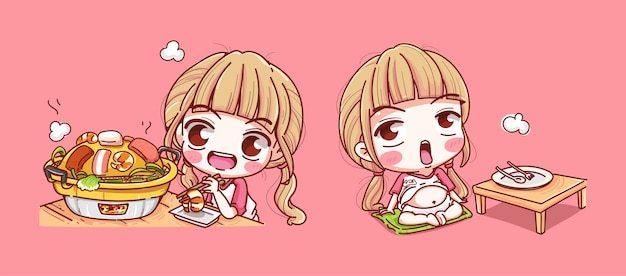 Set of girl eating pork pan isolated on pink Premium Vector