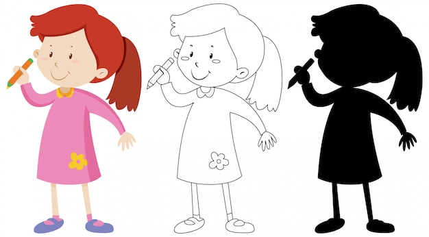 Set of girl holding pencil with its outline and silhouette Free Vector