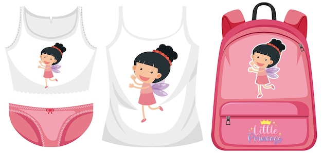 Set of girl outfit Premium Vector
