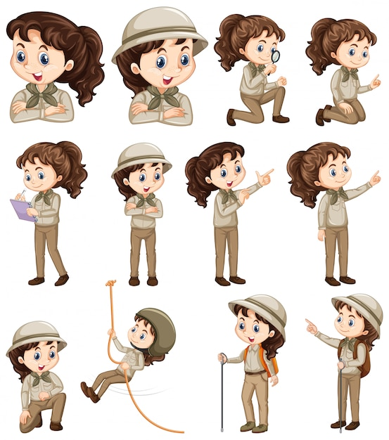 Set of girl in safari costume doing different things Free Vector