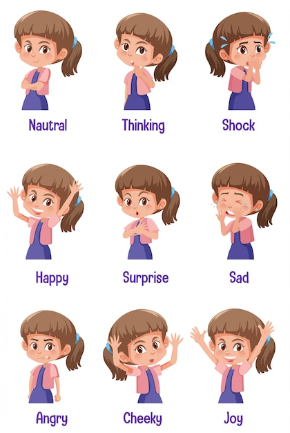 Set of girl with different expressions on her face Premium Vector