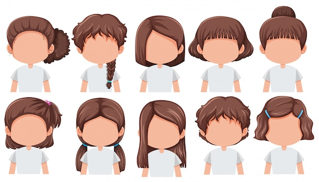 Set of girl with different hairstyle Premium Vector