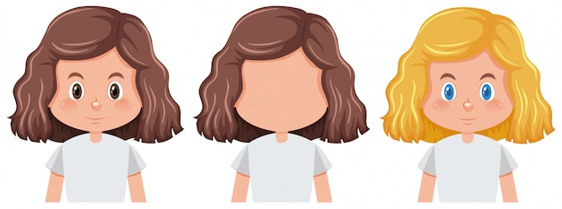Set of girl with different hairstyle Free Vector