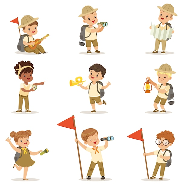 Set of girls and boys in scout costumes Premium Vector