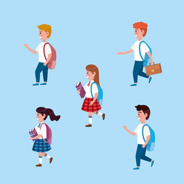 Set of girls and boys students with backpack and books Free Vector