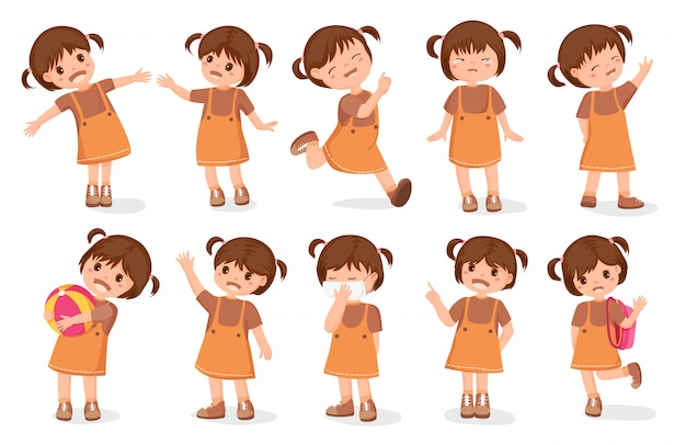 Set girls characters cartoon style Premium Vector
