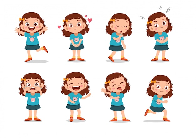 Set of girls characters Premium Vector
