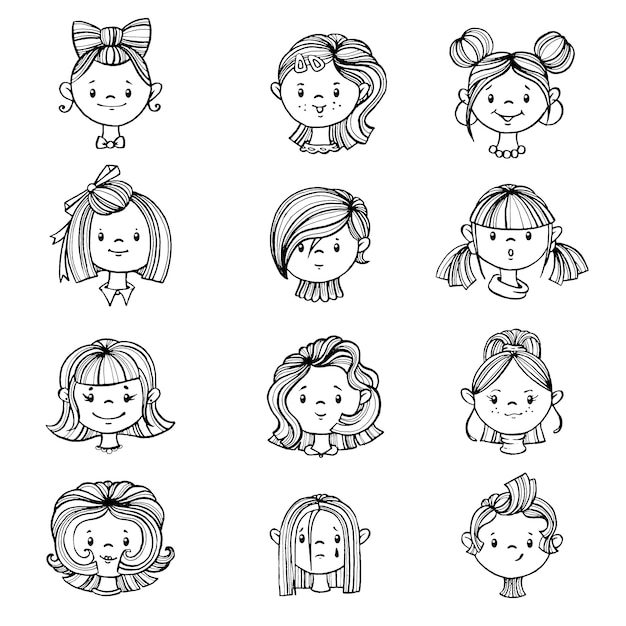 Set of girls with hairstyles. Premium Vector