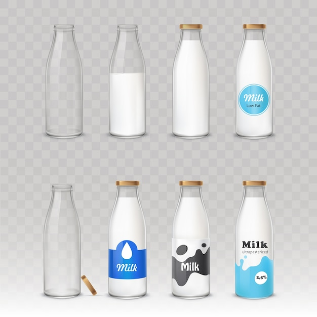 Set of glass bottles with milk with different labels. Free Vector