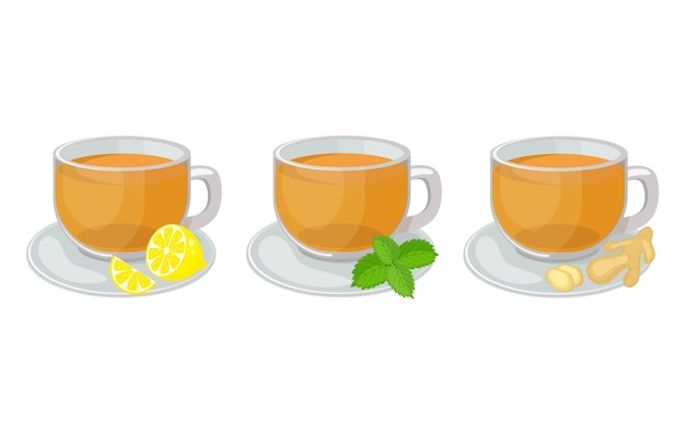 Set of glass cups  with saucers  with herbal  tea inside and lemon slice, mint, ginger   illustration isolated on white background. hot herbal tea Premium Vector