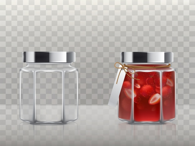A set of glass figured jars is empty and with a strawberry jam Free Vector