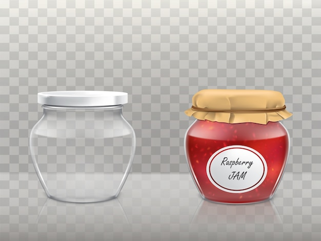 A set  of glass figured jars Free Vector