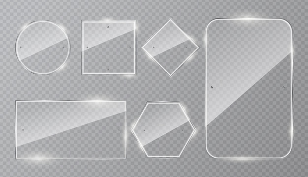 Set of glass frames  isolated on transparent background. Premium Vector