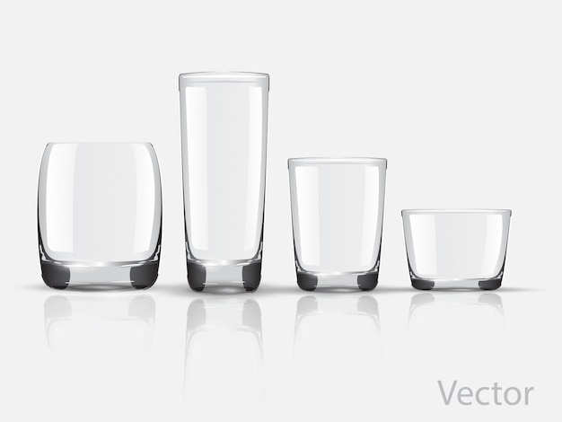 Set glass glasses vector Premium Vector