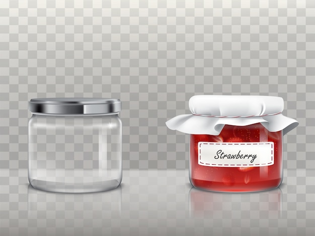 A set of glass round jars is empty and with strawberry jam Free Vector