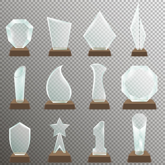 Set of glass transparent trophy awards with wooden stand. glass trophy awards in realistic style. Premium Vector