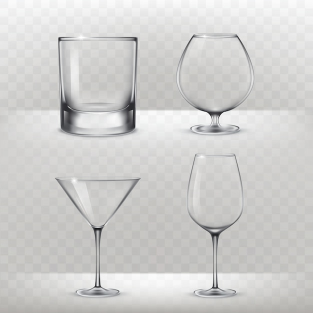 Set of glasses for alcohol in a realistic style Free Vector