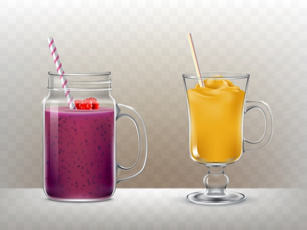 Set of glasses, cups for smoothies Free Vector
