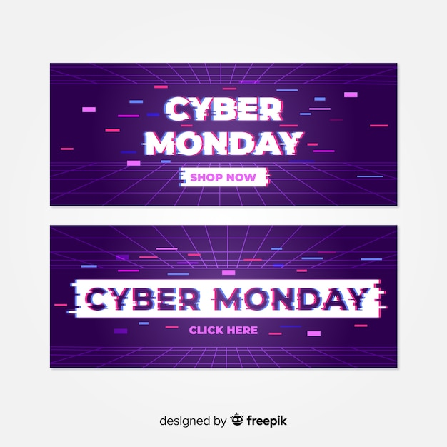 Set of glitch cyber monday banners Free Vector