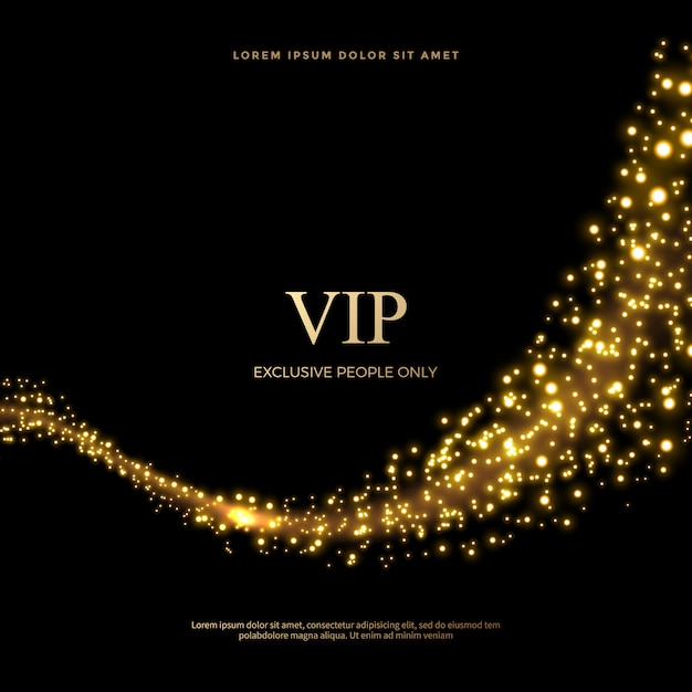 Set of glittering dust tails in golden style, golden glitter abstract background Premium Vector