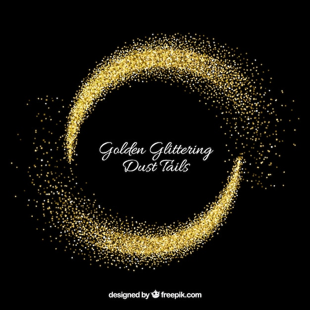 Set of glittering dust tails in golden style Free Vector