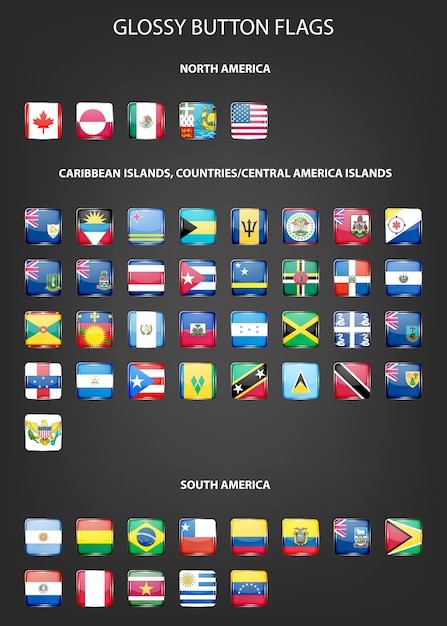 Set of glossy button flags - north and south america, caribbean islands, countries, central america islands. Premium Vector