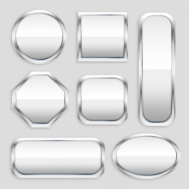 Set of glossy metal button in different shapes Free Vector