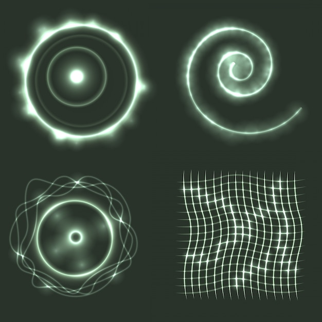 Set of glowing geometrical shapes Free Vector