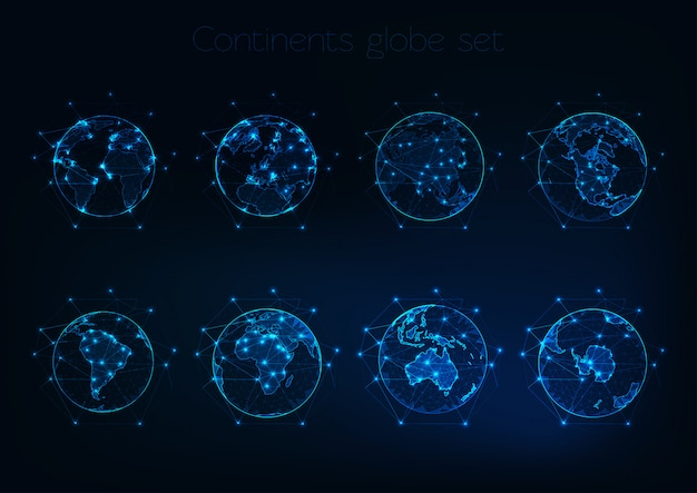 Set of glowing low polygonal globes shows planet earth with different continents outlines. Premium Vector
