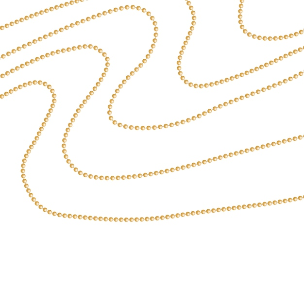 Set of gold beads and gold chains Premium Vector
