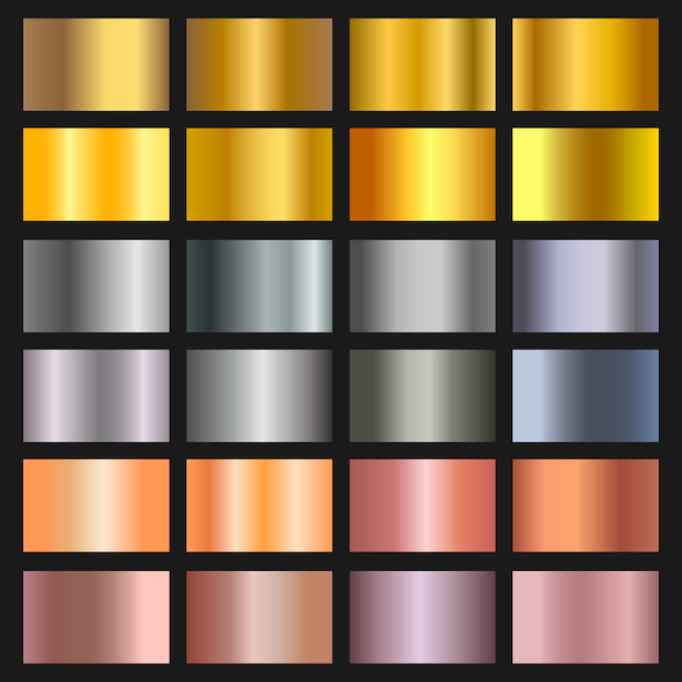 Set of gold, bronze and silver gradient background. golden and metalic gradient collection for border, frame, ribbon, label design. color swatch. Premium Vector