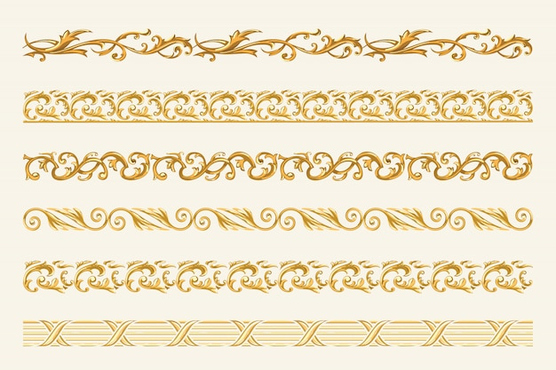 Set of gold chains and ropes isolated on white background. Premium Vector
