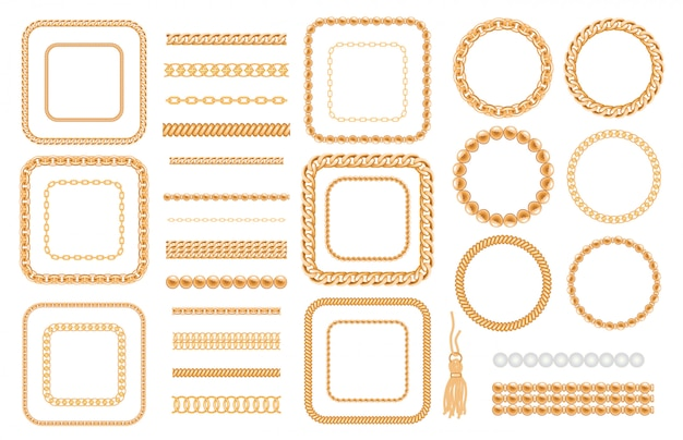 Set of gold chains and ropes isolated on white Premium Vector