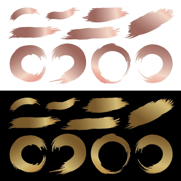 Set of gold and copper color brush stroke abstract paintbrush Premium Vector