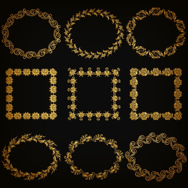 Set of gold decorative borders, frame Premium Vector