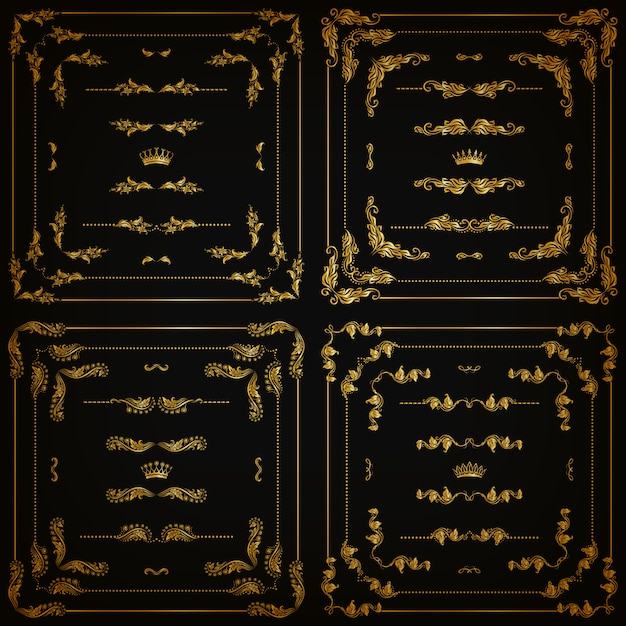 Set of gold decorative borders, frame Premium Vector