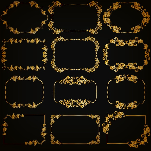 Set of gold decorative ornamental borders and frame Premium Vector