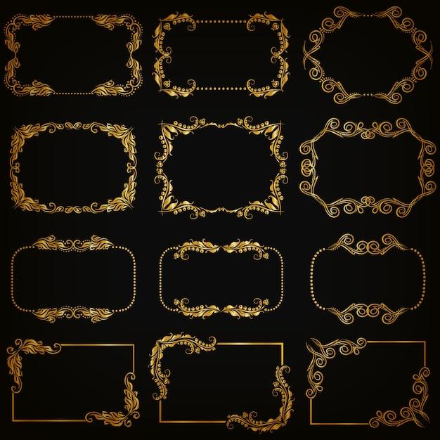 Set of gold decorative ornamental borders and frame Premium Vector